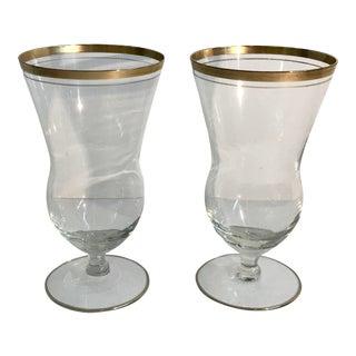 Vintage Gold Rim Cocktail Glasses - a Pair For Sale