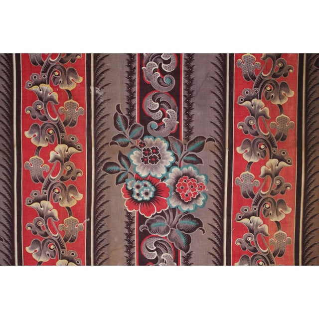 Antique French Fabric Rare Purple Red & Blue Madder Tones 1830 Roller Printed For Sale - Image 11 of 13