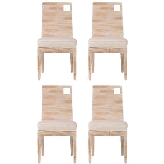 David Francis Modern Crushed Bamboo Dining Chairs - Set of 4 For Sale