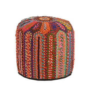 Colorful Woven India Pouf For Sale
