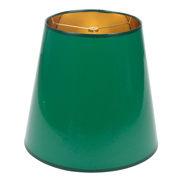 High Gloss Tapered Dark Green Lampshade With Gold Lining For Sale