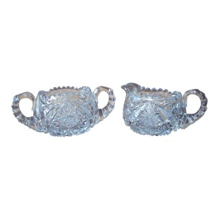 Cut Crystal Sugar & Creamer - A Pair For Sale