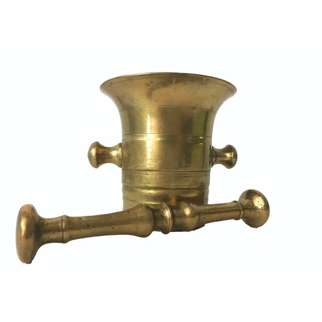 Antique Brass Mortar and Pestle 19th Century - Image 2 of 6