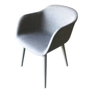 Minimalistic Muuto Fiber Gray Fabric Armchair With Wood Base For Sale