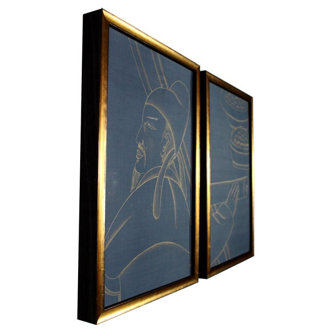 Metallic Gold Paint on Blue Silk Chinoiserie Diptych Paintings - 2 Pieces For Sale In Los Angeles - Image 6 of 8
