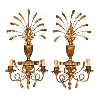 20th Century Gold Gilt Italian Wood Carved Wheat Sheaf Sconces - a Pair For Sale