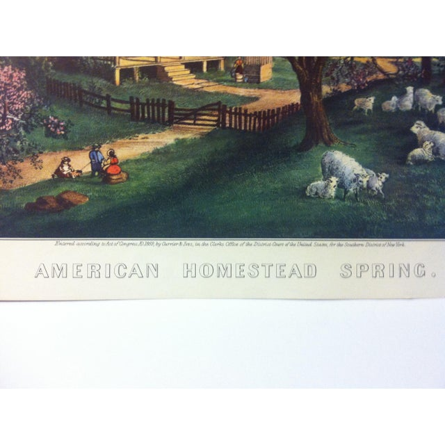 """American Currier & Ives Color Print, """"American Homestead - Spring 1869"""", 1954 For Sale - Image 3 of 4"""