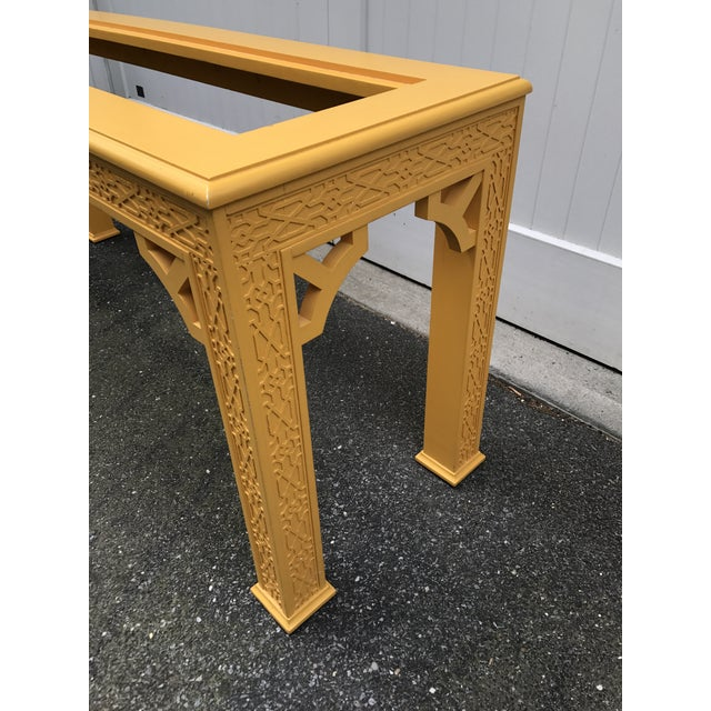 Vintage Fretwork Chinoiserie Console Table with Glass Insert For Sale In New York - Image 6 of 10