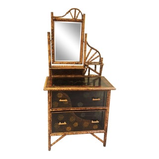 Antique Chinoiserie English Bamboo Black Lacquer 2 Drawer Dressing Table For Sale
