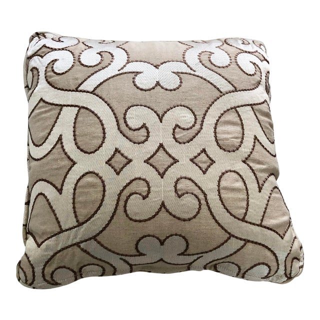 """Scalamandre Damascus Embroidery Square 18"""" Pillows (3 Available) For Sale"""