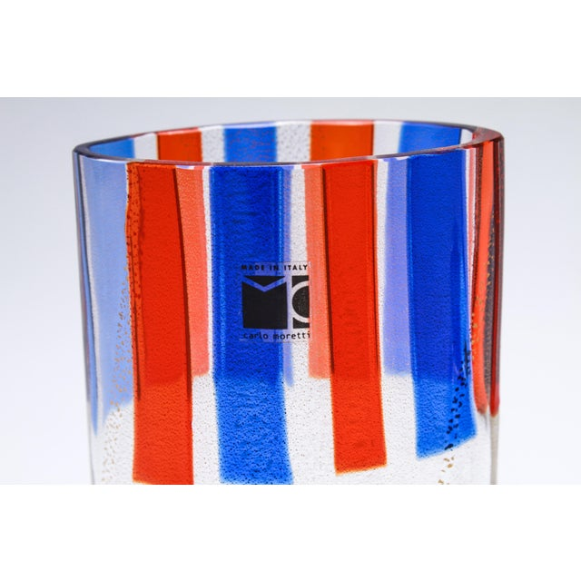 """Carlo Moretti Italian Murano glass aventurine vase with red and blue stripes, with a maker's sticker """"Made in Italy Carlo..."""