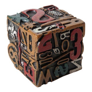 "1960's Sheldon Rose ""Alpha Sculpt"" Cube Sculpture For Sale"