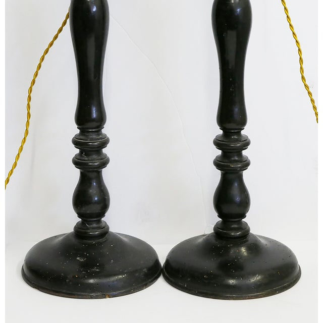 French Antique French Lamps Made From Wooden Candlesticks For Sale - Image 3 of 5