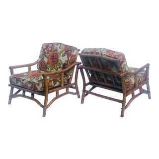 Ficks Reed Mid Century Modern Bamboo Lounge Chairs - a Pair For Sale