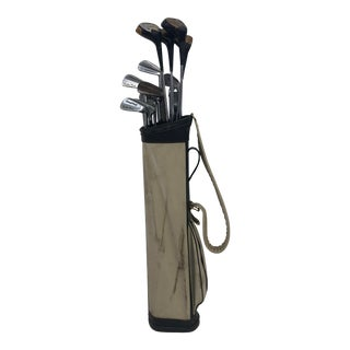 Vintage Stovepipe Golf Bag With Clubs - Great for Decor For Sale