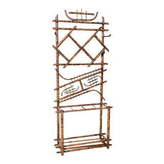 French 19th C Tortoise Shell Bamboo Hall Tree Coat Rack With Mirrors For Sale