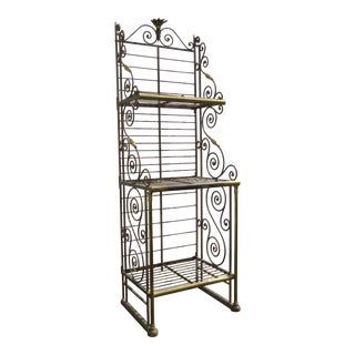 Vintage French Country Style Wrought Iron & Brass Three-Tier Baker's Rack
