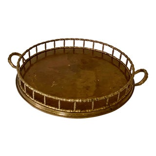 Mid-Century Brass Faux Bamboo Tray For Sale