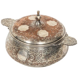 Christofle Paris, an Unusual French Islamic Style Silvered Covered Dish For Sale