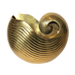 1970's Vintage Brass Nautilus Shell Wall Planter For Sale