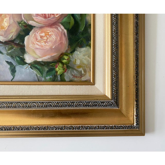 Wood Oil Painting of Garden Roses - Framed For Sale - Image 7 of 10