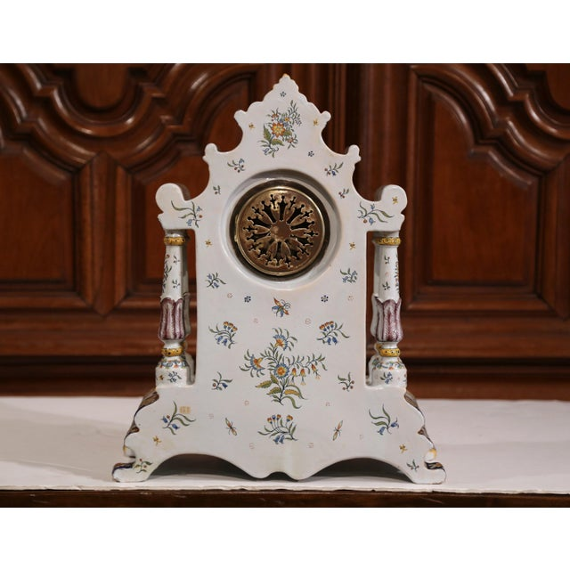 19th Century French Hand-Painted Ceramic Mantel Clock From Rouen For Sale - Image 9 of 11