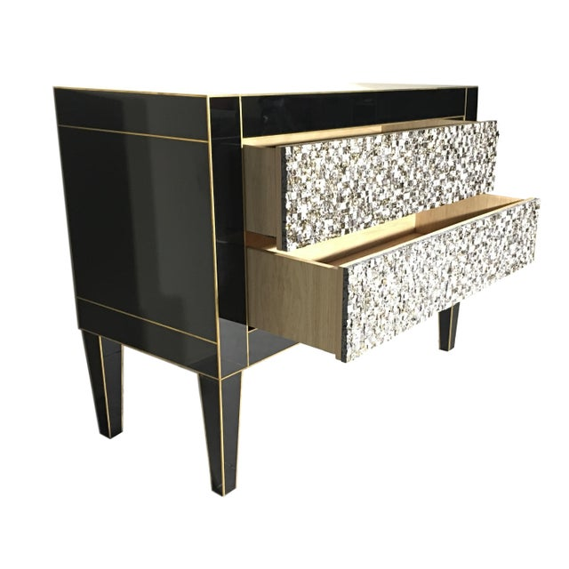 Modern Handmade Mirrored Commode or Chest of Drawers, Volcanic Rock and Brass Inlay For Sale - Image 3 of 7