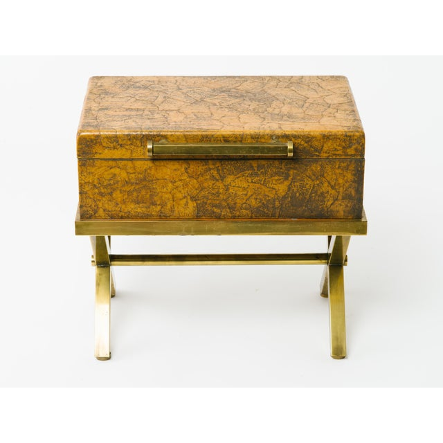 Gold Leather Trunk on Brass Base by Hart Associates For Sale - Image 8 of 12