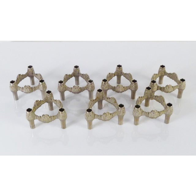 Caesar Stoffi Germany 1970s Nagel Brutalist Stacking Quist Variomaster Candleholders - 7 Pc. Set For Sale - Image 4 of 11