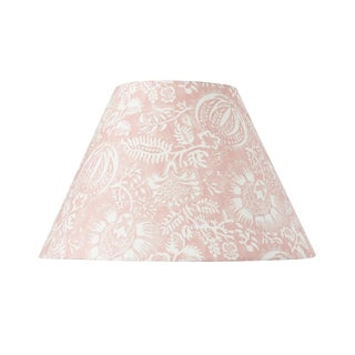 Schumacher Pomegranate Print Linen Lampshade in Petal For Sale