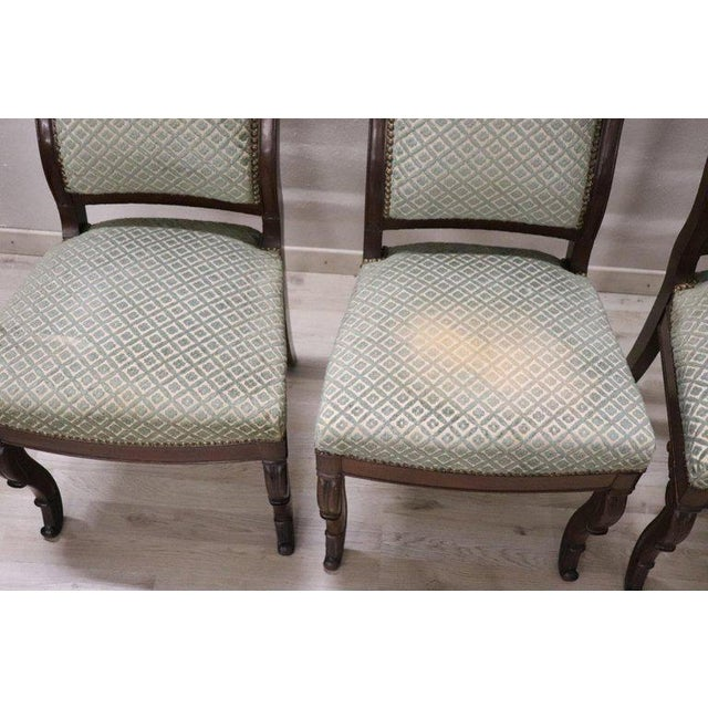19th Century Italian Carved Mahogany Charles X Six Chairs For Sale - Image 12 of 13