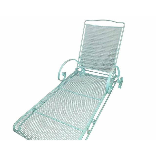 Russell Woodard Iron Mesh Steel Outdoor Chaise Lounge - Image 5 of 6