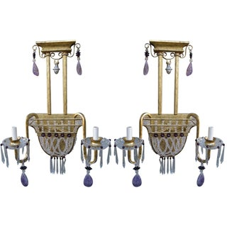 Amethyst Rock Crystal Sconces - A Pair