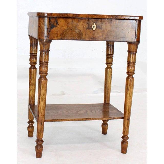 Biedermeier 19th Century Biedermeier Burl Walnut One Drawer Sewing Stand Table For Sale - Image 3 of 13