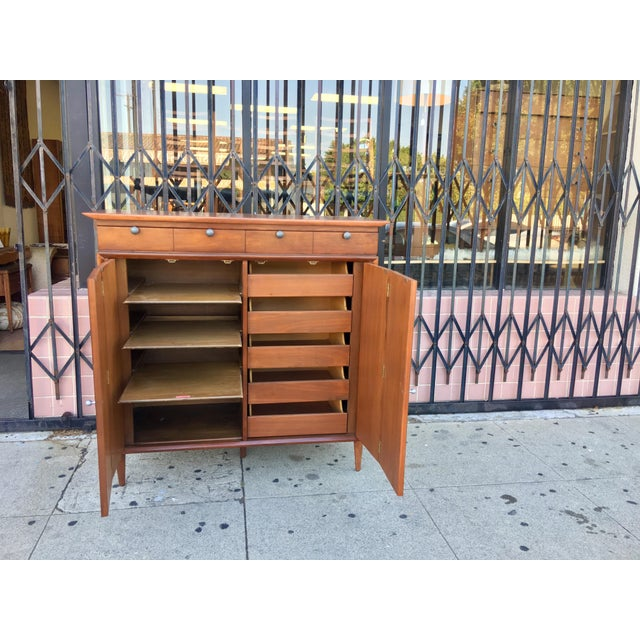 Burlwood Detail Mid-Century Highboy For Sale In Los Angeles - Image 6 of 11
