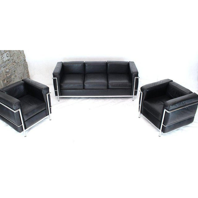Le Corbusier Licensed Le Corbusier Club Chairs and Matching Lc2 Sofa Set- 3 Pieces For Sale - Image 4 of 12