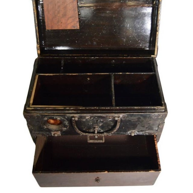 Antique Handmade Wood Money Box with Hardware from 19th Century, China For Sale - Image 4 of 9
