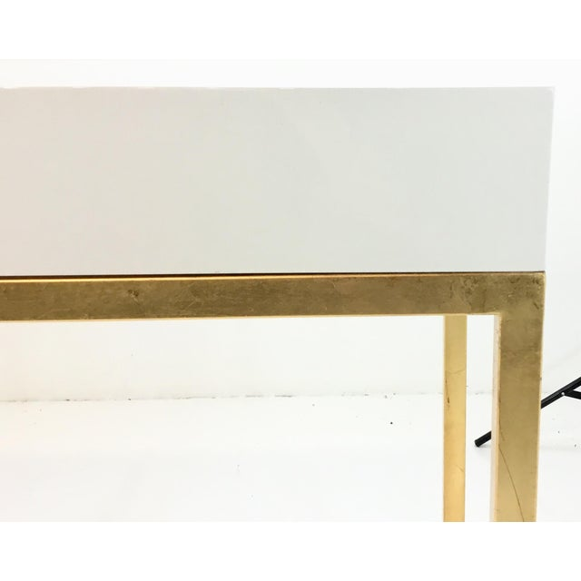 2010s Worlds Away Contemporary Barsanti White Lacquer Console Table For Sale - Image 5 of 6
