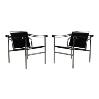 Mid Century Modern Le Corbusier Lc1 Style Sling Chairs- A Pair For Sale