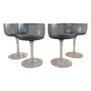 Silver Rimmed Smoke Blue Champagne Coupes - S/4