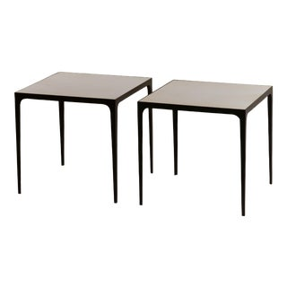 Large 'Esquisse' Wrought Iron and Parchment Side Tables by Design Frères - a Pair For Sale