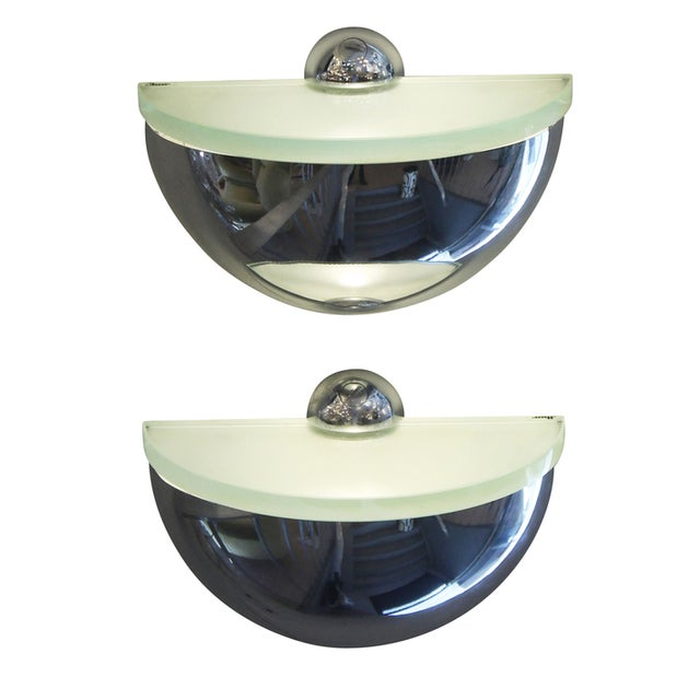 Pair of Rounded Chrome Sconces in the Style of Fontana Arte - Image 3 of 6