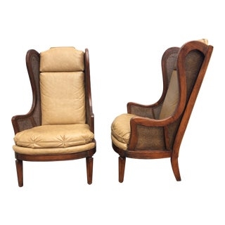 Vintage Vegan Leather Cane Wingback Chairs - A Pair