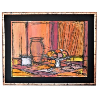 Large Framed Mid-Century Modern Abstract Expressionist Cubist Watercolor Painting by T P Andersen -- Boho Chic Art Deco Hollywood Regency