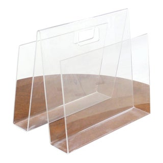 Mid-Century Modern Bent Lucite Magazine Rack For Sale