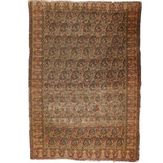 """Antique Hand Knotted Persian Rug in Paisley Design. 3'9""""x 5'5"""" For Sale"""