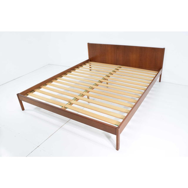 "Wood Danish Modern Teak Oversized Queen Bed Frame, 69.5"" Wide For Sale - Image 7 of 10"