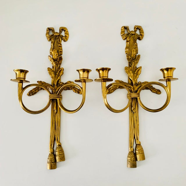 Metal 1970s French Neoclassical Wall Appliques - a Pair For Sale - Image 7 of 7