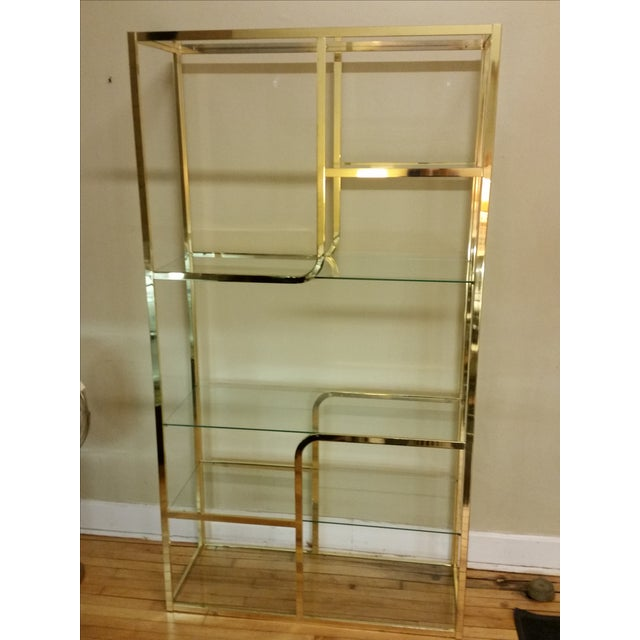 Hollywood Regency Glass & Brass Etagere - Image 2 of 7