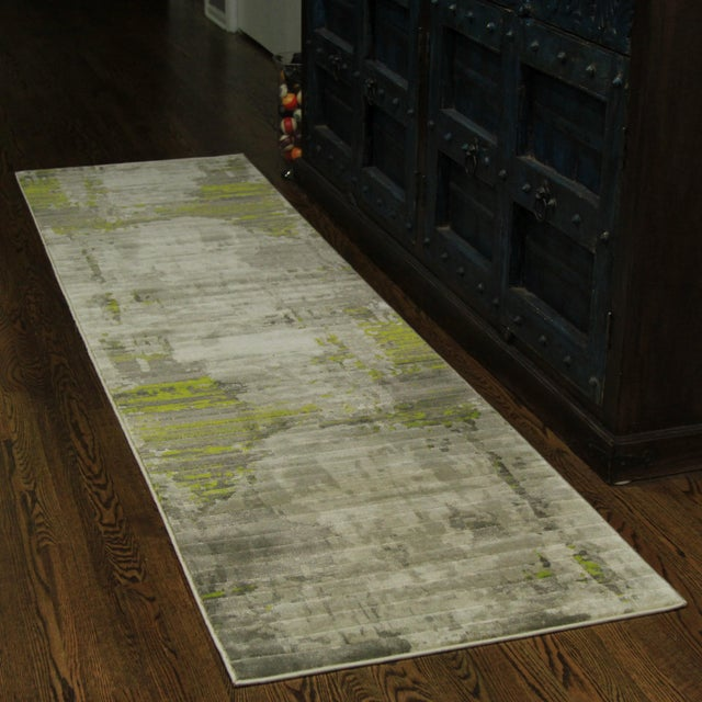 Contemporary Abstract Green Rug - 2'8'' x 10' - Image 2 of 5